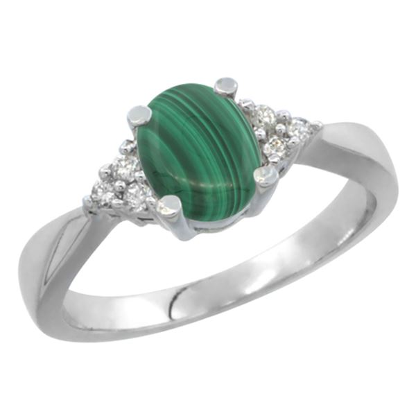 0.81 CTW Malachite & Diamond Ring 10K White Gold - REF-27W5F