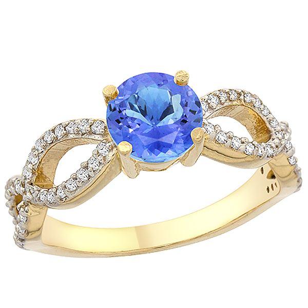 1.09 CTW Tanzanite & Diamond Ring 14K Yellow Gold - REF-56N7Y