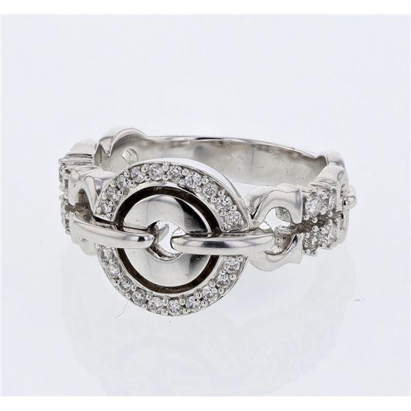 Natural 0.35 CTW Diamond Ring 18K White Gold - REF-122K4R