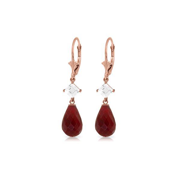 Genuine 18.6 ctw Ruby & White Topaz Earrings 14KT Rose Gold - REF-46V7W