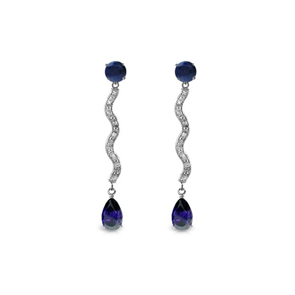 Genuine 4.35 ctw Sapphire & Diamond Earrings 14KT White Gold - REF-73P6H