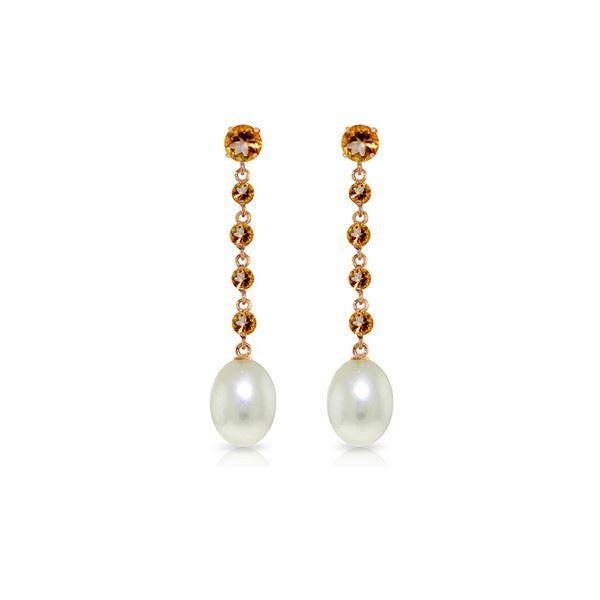 Genuine 10 ctw Citrine & Pearl Earrings 14KT Rose Gold - REF-32Y4F