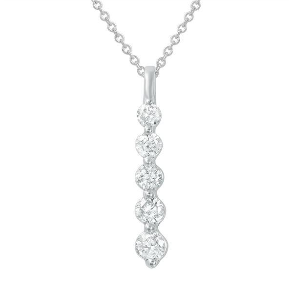 Natural 0.50 CTW Diamond Necklace 14K White Gold - REF-58T5X