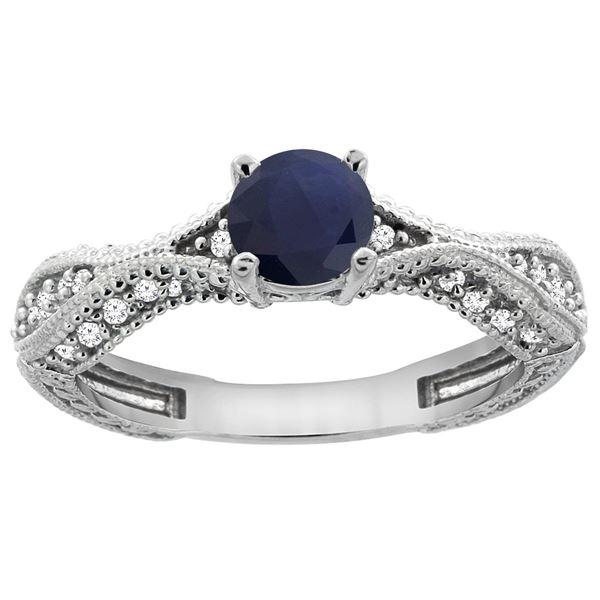 0.85 CTW Blue Sapphire & Diamond Ring 14K White Gold - REF-104M2A
