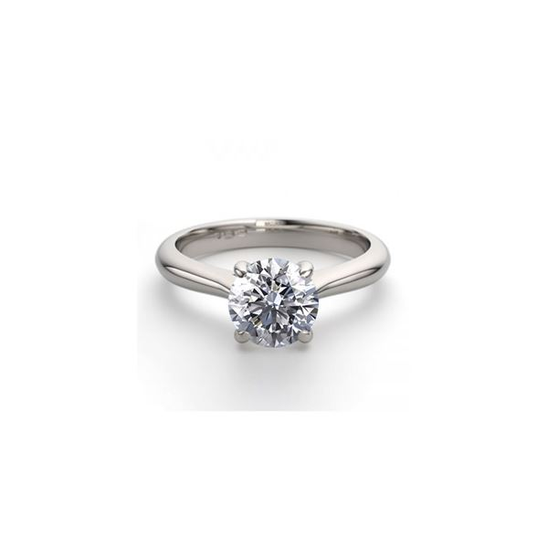 14K White Gold 0.91 ctw Natural Diamond Solitaire Ring - REF-243R2M
