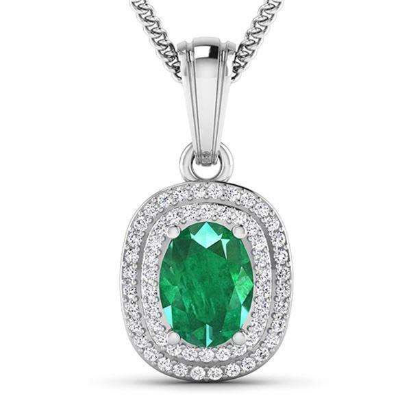 Natural 2.46 CTW Zambian Emerald & Diamond Pendant 14K White Gold - REF-53T2H