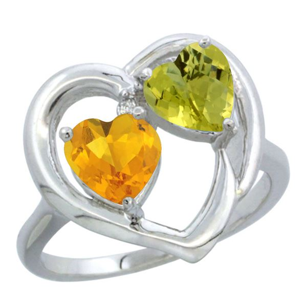 2.61 CTW Diamond, Citrine & Lemon Quartz Ring 10K White Gold - REF-23A5X
