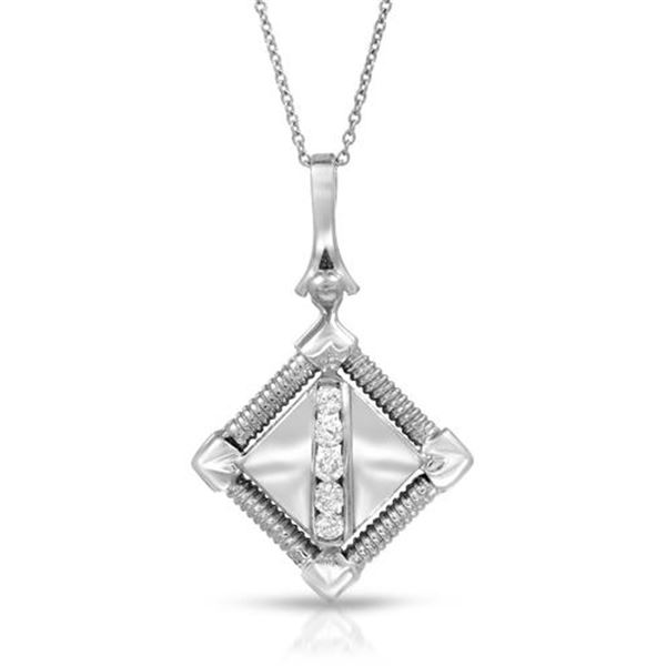 Natural 0.25 CTW Diamond Necklace 18K White Gold - REF-99N9Y