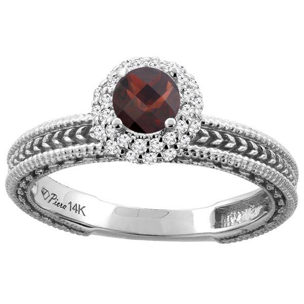 0.85 CTW Garnet & Diamond Ring 14K White Gold - REF-53A5X