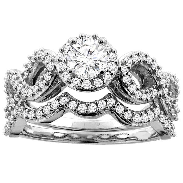 0.85 CTW Diamond Ring 10K White Gold - REF-122V3R
