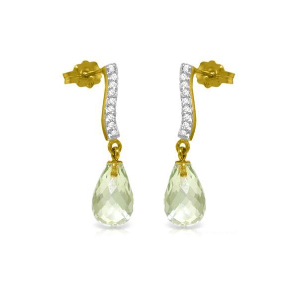 Genuine 4.78 ctw Green Amethyst & Diamond Earrings 14KT Yellow Gold - REF-46F2Z