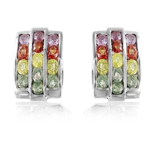 Natural 6.64 CTW Multi-Sapphire Earring 18K White Gold - REF-262F8M