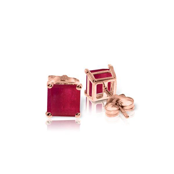 Genuine 2.9 ctw Ruby Earrings 14KT Rose Gold - REF-36R3P