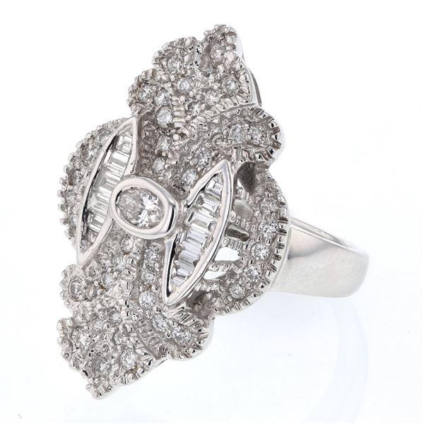 Natural 0.96 CTW Diamond Ring 18K White Gold - REF-181W8H