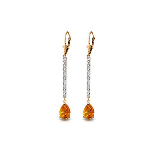 Genuine 3.6 ctw Citrine & Diamond Earrings 14KT Rose Gold - REF-60Z4N