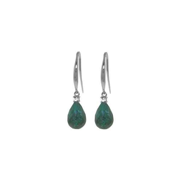 Genuine 6.7 ctw Green Sapphire Corundum & Diamond Earrings 14KT White Gold - REF-28Y8F