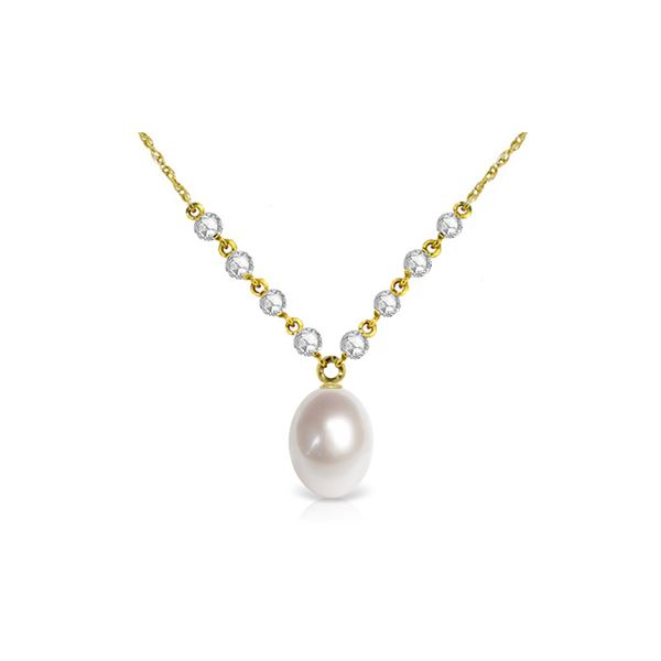 Genuine 4.8 ctw Pearl & Diamond Necklace 14KT Yellow Gold - REF-121V9W