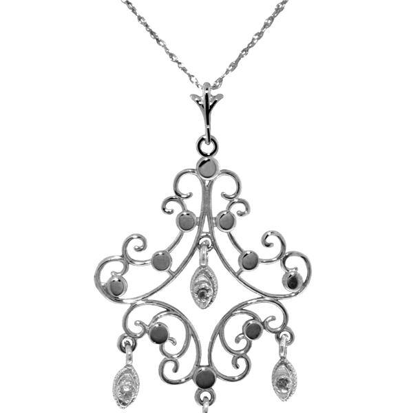 Genuine 0.02 ctw Diamond Anniversary Necklace 14KT White Gold - REF-36N5R