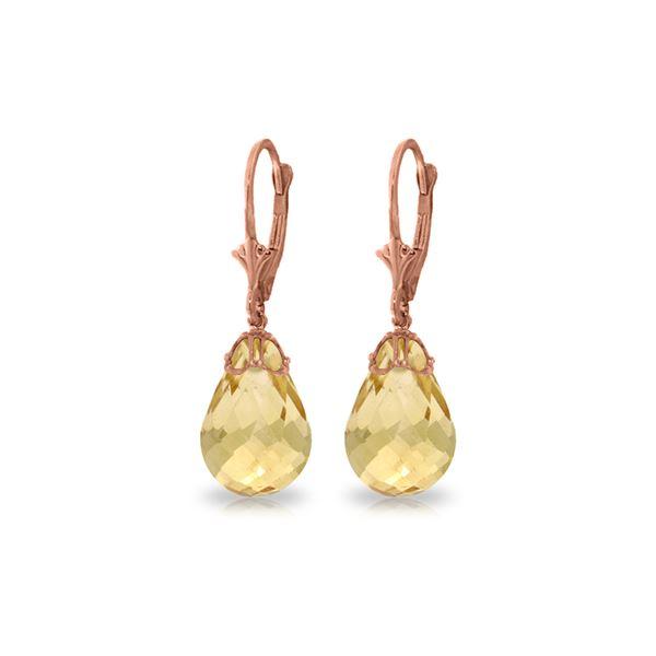 Genuine 14 ctw Citrine Earrings 14KT Rose Gold - REF-34P3H