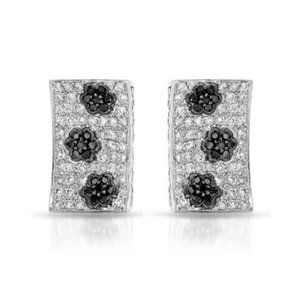 Natural 1.59 CTW Diamond & Black Round Diamond Earrings 14K White Gold - REF-143T3X