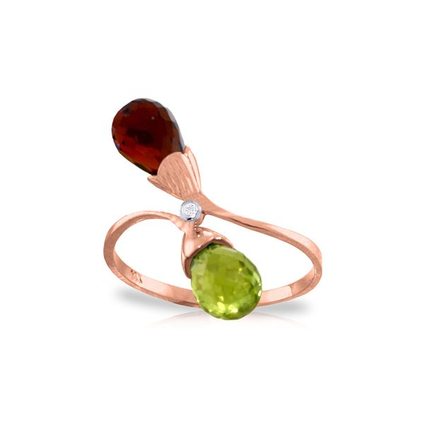 Genuine 2.52 ctw Citrine, Garnet & Diamond Ring 14KT Rose Gold - REF-25Z6N