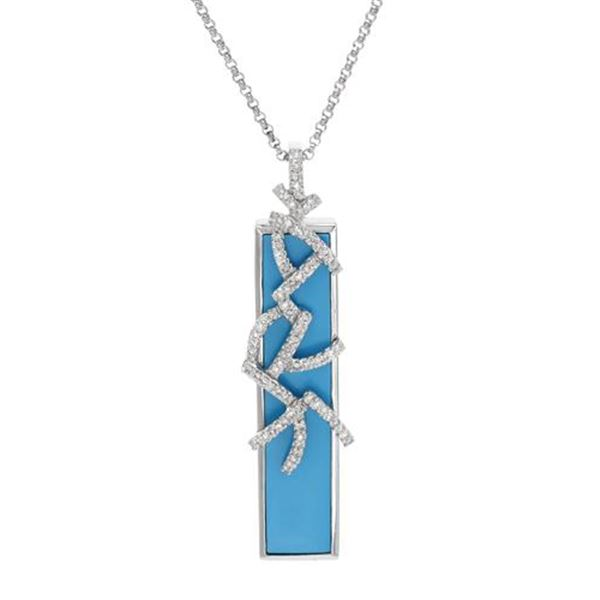 Natural 6.17 CTW Turquoise & Diamond Necklace 14K White Gold - REF-61N2Y