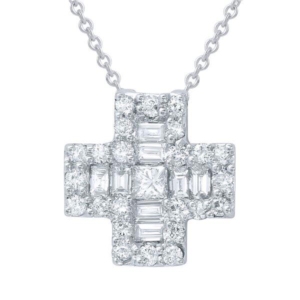 Natural 0.69 CTW Diamond & Baguette Necklace 18K White Gold - REF-97T2X
