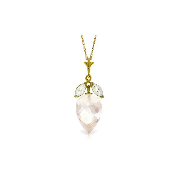 Genuine 12.75 ctw White Topaz Necklace 14KT Yellow Gold - REF-34M7T