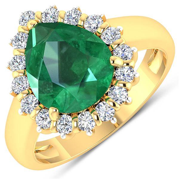 Natural 3.33 CTW Zambian Emerald & Diamond Ring 14K Yellow Gold - REF-141N7R
