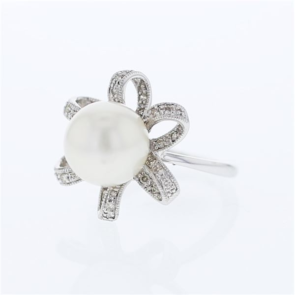 Natural 10.82 CTW Pearl & Diamond Ring W=16MM 18K Gold - REF-98W3H