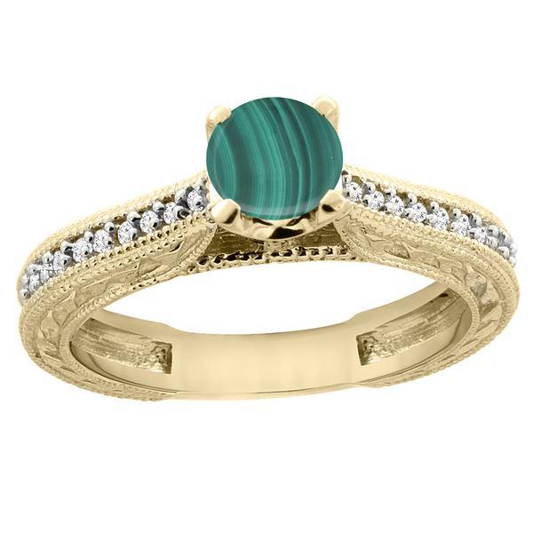 1.51 CTW Malachite & Diamond Ring 14K Yellow Gold - REF-53V3R
