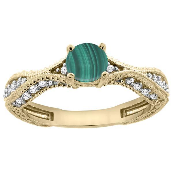 1.61 CTW Malachite & Diamond Ring 14K Yellow Gold - REF-67R9H
