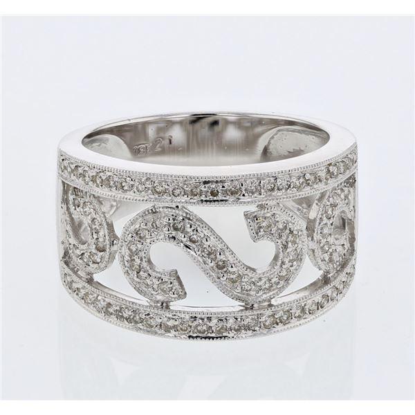 Natural 0.43 CTW Diamond Ring W=12MM 18K Gold - REF-89F3M