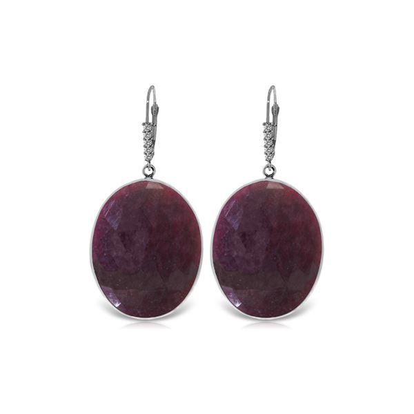 Genuine 39.15 ctw Ruby & Diamond Earrings 14KT White Gold - REF-125M2T