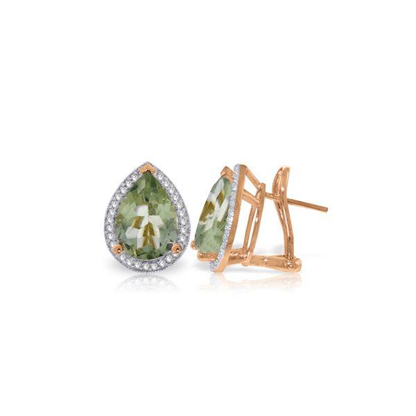 Genuine 6.82 ctw Amethyst & Diamond Earrings 14KT Rose Gold - REF-119A7K