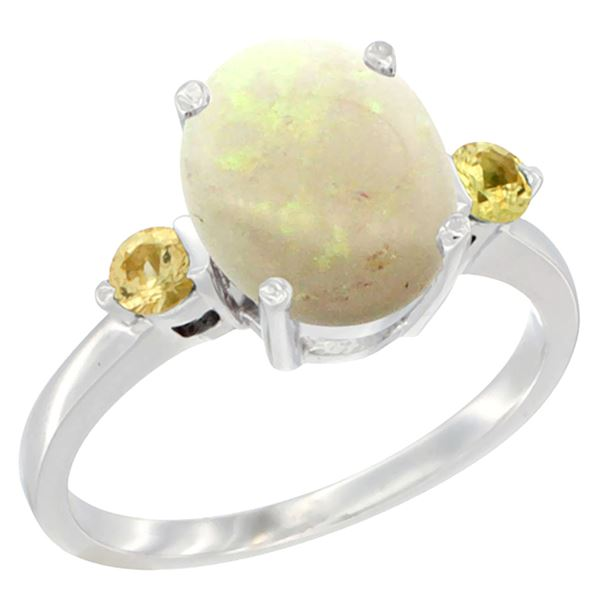 1.65 CTW Opal & Yellow Sapphire Ring 14K White Gold - REF-31X7M