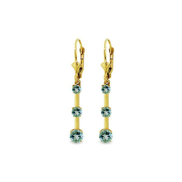 Genuine 2.5 ctw Blue Topaz Earrings 14KT Yellow Gold - REF-39N3R