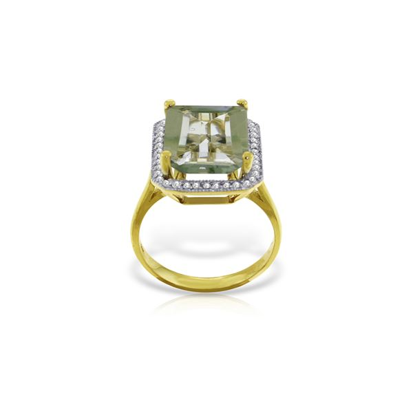Genuine 5.8 ctw Green Amethyst & Diamond Ring 14KT Yellow Gold - REF-82P2H