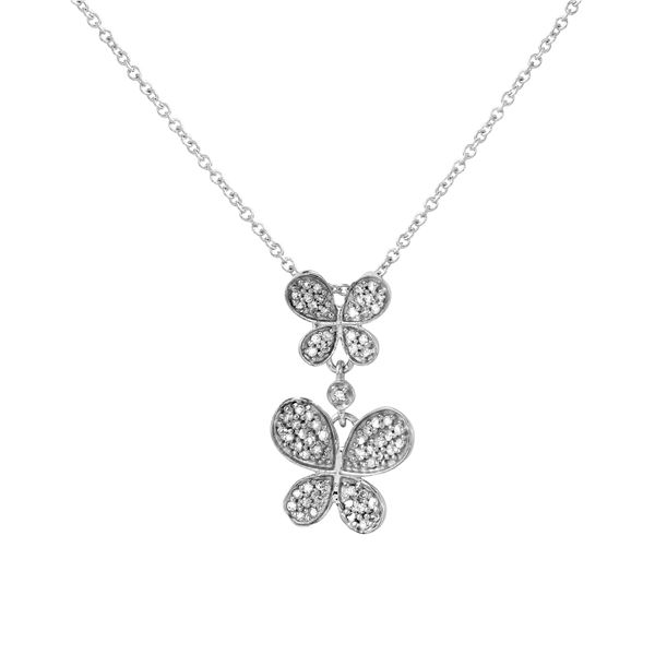 Natural 0.23 CTW Diamond Necklace 14K White Gold - REF-27N9Y