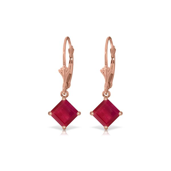 Genuine 2.9 ctw Ruby Earrings 14KT Rose Gold - REF-42Z2N