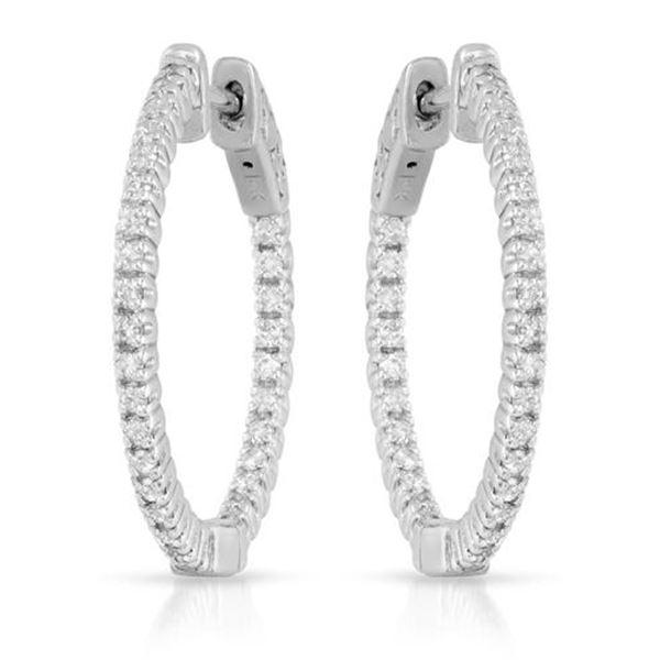 Natural 0.66 CTW Diamond Earrings 14K White Gold - REF-108F9M