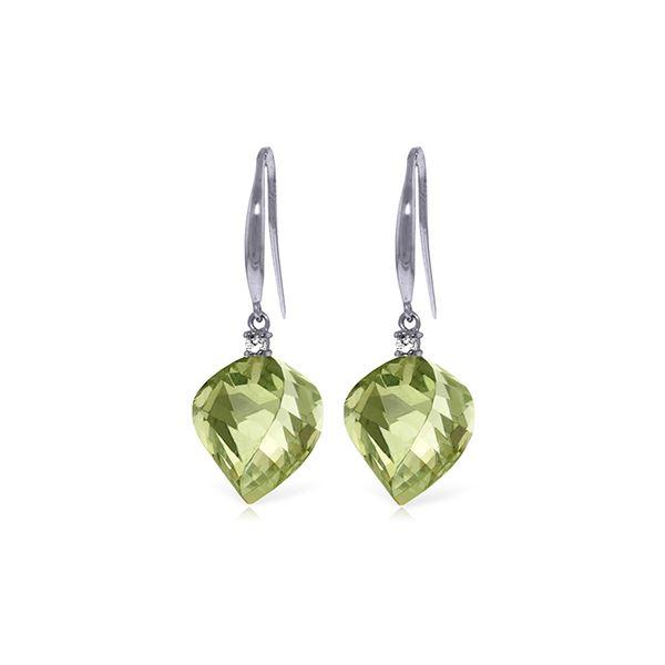 Genuine 26.1 ctw Green Amethyst & Diamond Earrings 14KT White Gold - REF-55Z3N