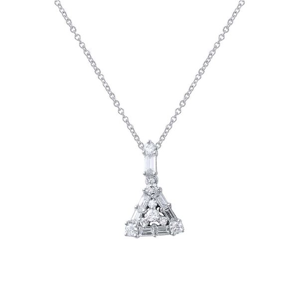 Natural 0.34 CTW Baguette & Diamond Necklace 14K White Gold - REF-38K7R