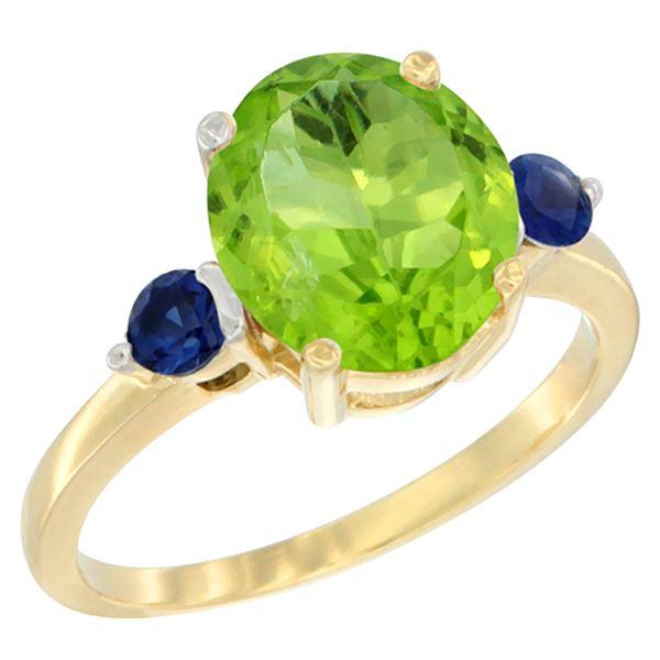3.02 CTW Peridot & Blue Sapphire Ring 14K Yellow Gold - REF-36X3M