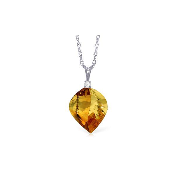 Genuine 11.80 ctw Citrine & Diamond Necklace 14KT White Gold - REF-30Z2N