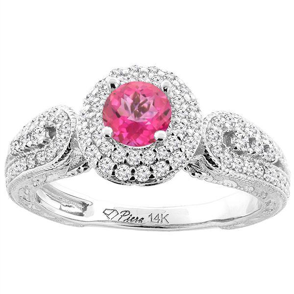 1.06 CTW Pink Topaz & Diamond Ring 14K White Gold - REF-88H8M
