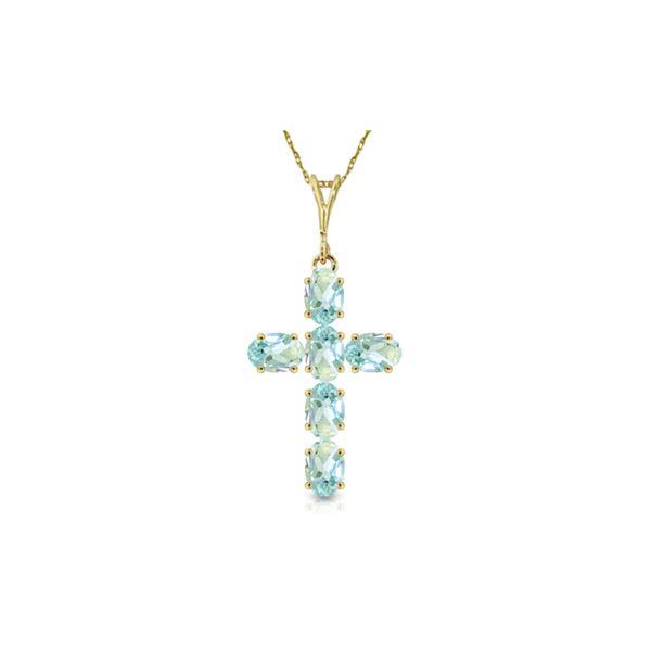 Genuine 1.50 ctw Aquamarine Necklace 14KT Yellow Gold - REF-36R8P