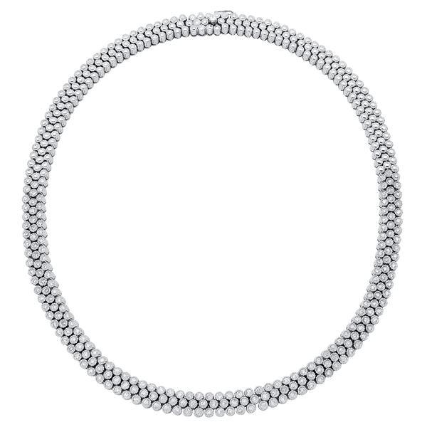 Natural 3.85 CTW Diamond Necklace 18K White Gold - REF-1205K3R