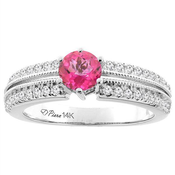 1.30 CTW Pink Topaz & Diamond Ring 14K White Gold - REF-67V3R