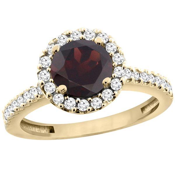 1.39 CTW Garnet & Diamond Ring 14K Yellow Gold - REF-60R9H